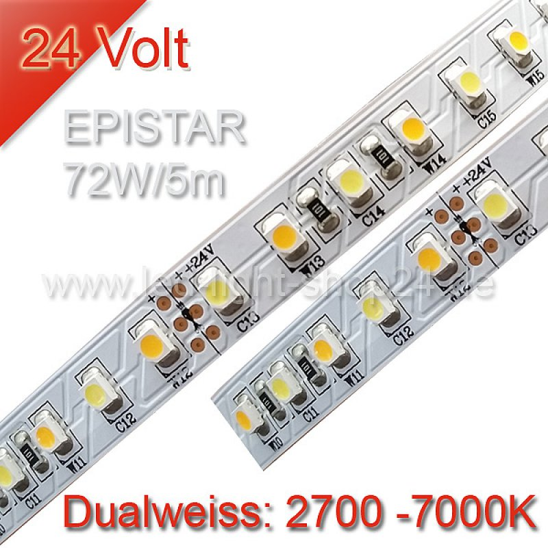 dualweisses led band 14 4watt epistar 2700 7000k 24volt 59 90. Black Bedroom Furniture Sets. Home Design Ideas