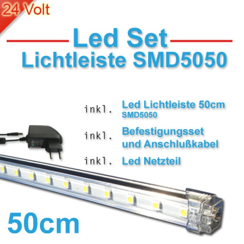 led lichtleisten im set weiss smd5050 l nge 50cm ip20 85. Black Bedroom Furniture Sets. Home Design Ideas