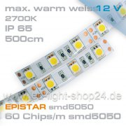 12V EPISTAR Led Streifen smd5050 5m warmweiss 2700K  IP65