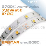 12V Led Streifen EPISTAR smd5050 5m warmweiss 2700K  IP20