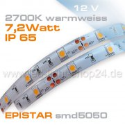12V Led Streifen EPISTAR smd5050 5m warmweiss 2700K  IP65