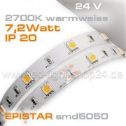 24V EPISTAR smd5050 5m Rolle Led Streifen warmweiss 2700K IP20