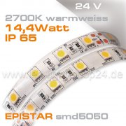24V EPISTAR smd5050 5m Rolle Led Streifen warmweiss 2700K IP65