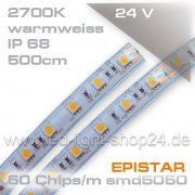 24V EPISTAR smd5050 5m Rolle Led Streifen warmweiss 2700K IP68