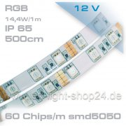 5m    RGB SMD Led Band:  IP45-mit 3M-Klebeband &...