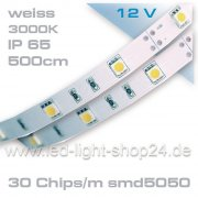 5m    SMD 5050 Led Band ----weiss-----mit 150 Chips---IP45--