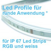 Led Profile 200cm ACRYL* flexibel und biegbar für IP67 Led Bänder