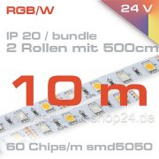 RGBW Led Stripe Epistar 24Volt 14,4Watt maximale Helligkeit RGB (2700K)