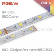 Led Stripe RGBW EPISTAR 14,4Watt/1m  IP65 24Volt   500cm Länge