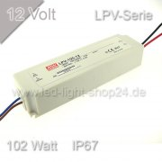 Led Trafo MEANW 12V LPV-Serie 100Watt wasserfest IP67