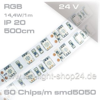 Led Band 24Volt 5m RGB SMD 5050  max. Lumen durch 300Chips/5m