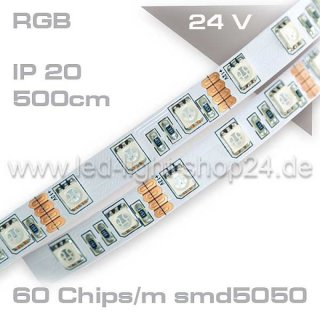 Led Band 5m 24Volt maximale Helligkeit: 60x smd5050 IP20/ Tape MP200