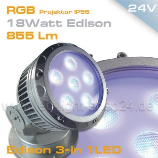 Led Projektor RGB 18Watt IP65
