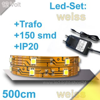 Led Strip Set warm/weiss Länge 500cm 150Chips smd inkl. Trafo