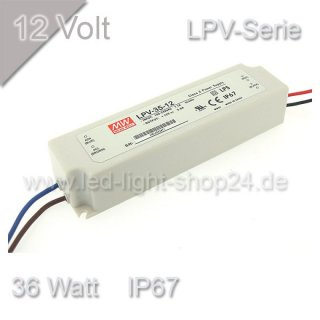 Led Trafo MEANW 12V LPV-Serie 36Watt wasserfest IP67