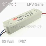 Led Trafo MEANW 12Vl LPV-Serie 60Watt wasserfest IP67