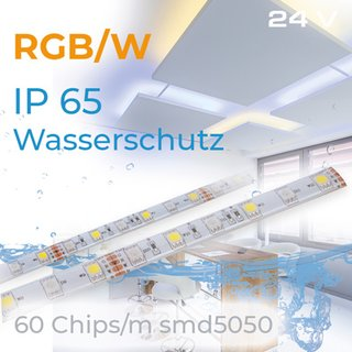 Led Stripe RGBW 2700 K EPISTAR 14,4Watt/1m  IP65 24Volt   500cm Länge