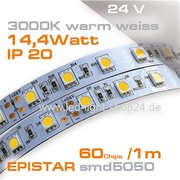 24V EPISTAR smd5050 5m Rolle Led Stip warmweiss 3000K IP20