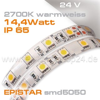 24V EPISTAR smd5050 5m Rolle Led Stip warmweiss 2700K IP65