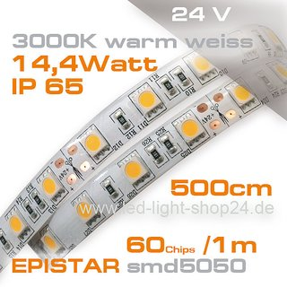 24V EPISTAR smd5050 5m Rolle Led Stip warmweiss 3000K IP65
