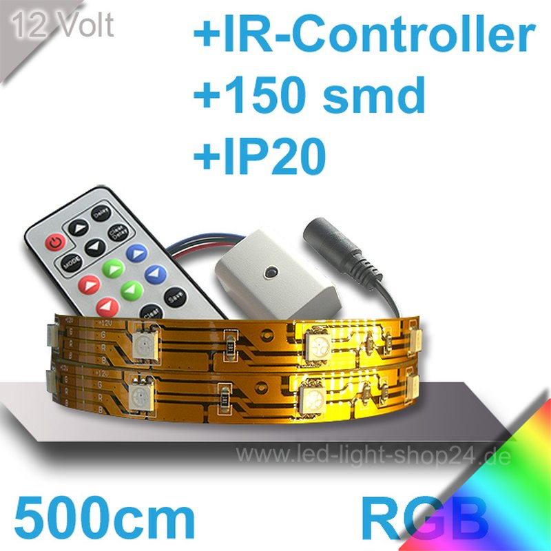 led strip set rgb mit ir controller netzteil l nge 500cm. Black Bedroom Furniture Sets. Home Design Ideas