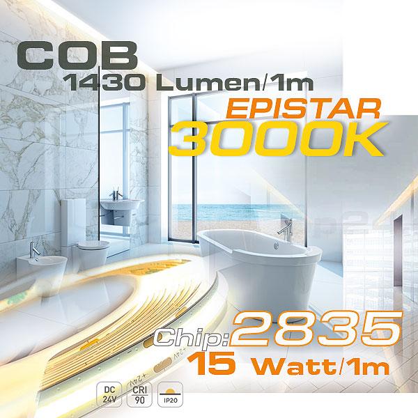LED Band mit COB Schutz in 5m Laenge in Lichtfarbe weiss 15Watt/ 24Volt im BAD