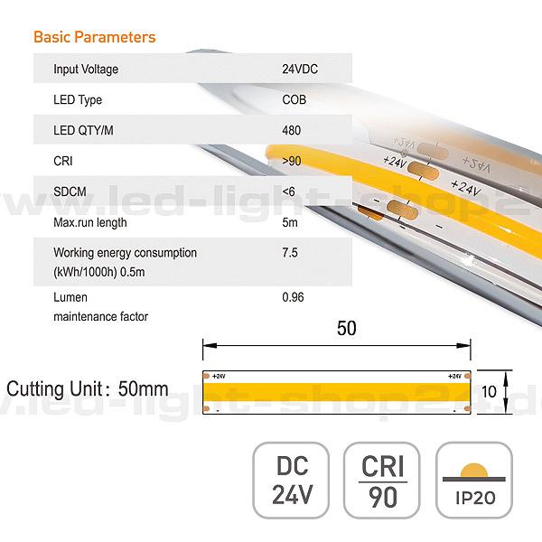 24Volt LED Band COB 3000K homogene Lichtwirkung