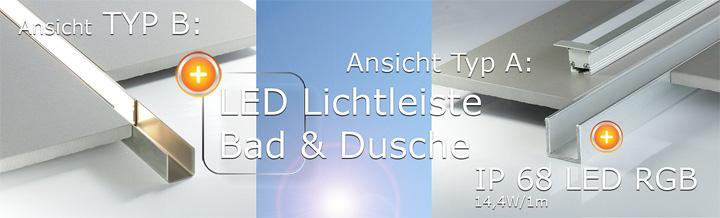 LED Beleuchtung in der Dusche mit homogen leuchtenden Led Komplettset Dusche