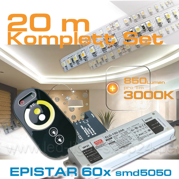 20m warmweiss kaltweiss LED Strip mit Trafo und Dimmer Set