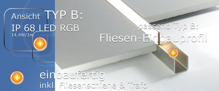 LED Profil in Fliese Beleuchtung