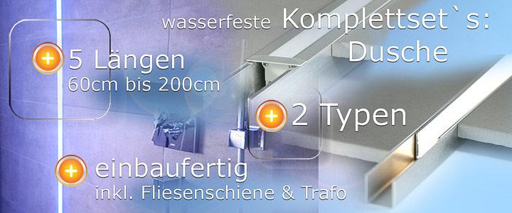 LED für die Dusche wasserfeste Lichtleiste in RGB im Sett