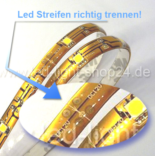 led streifen schneiden teilbarkeit bei led streifen led b nder k rzen led strip trennen led. Black Bedroom Furniture Sets. Home Design Ideas