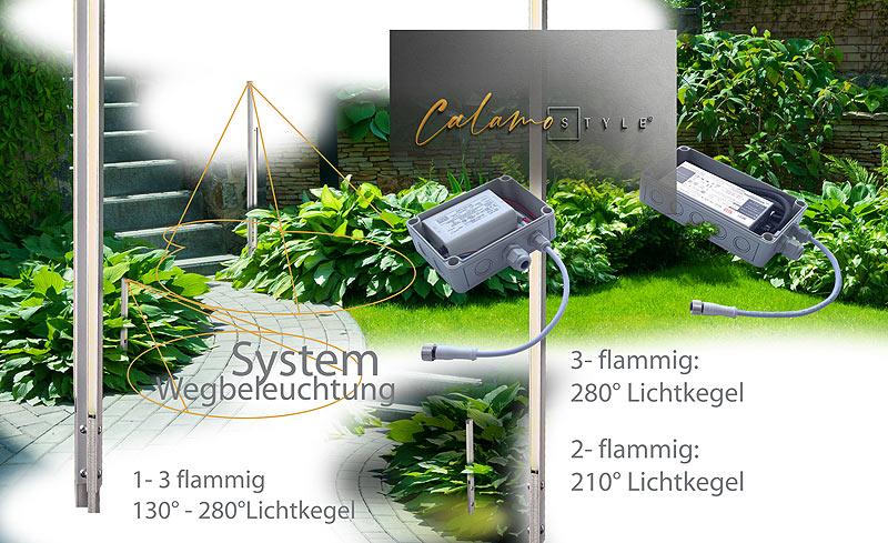 LED Bodenbeleuchtung für Wege mit filigraner Stehleuchte beleuchten im Aussenbereich