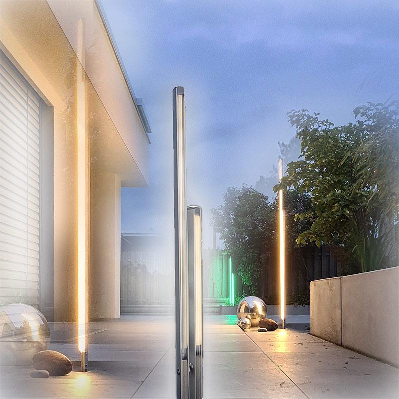 Moderne Wegbeleuchtung mit einer LED Stehleuchte dimmbar für weg und Terrasse